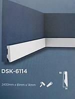 Плинтус напольный Decolux  2000Х61Х14 дюрополимер  DSK 6114 белый