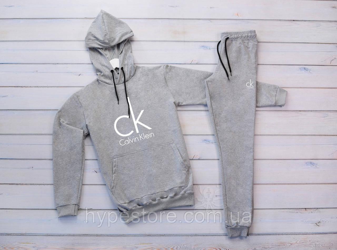 Мужской серый тёплый зимний спортивный костюм, костюм с капюшоном на флисе Calvin Klein, реплика