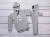 Мужской серый тёплый зимний спортивный костюм, костюм с капюшоном на флисе Calvin Klein, реплика, фото 1