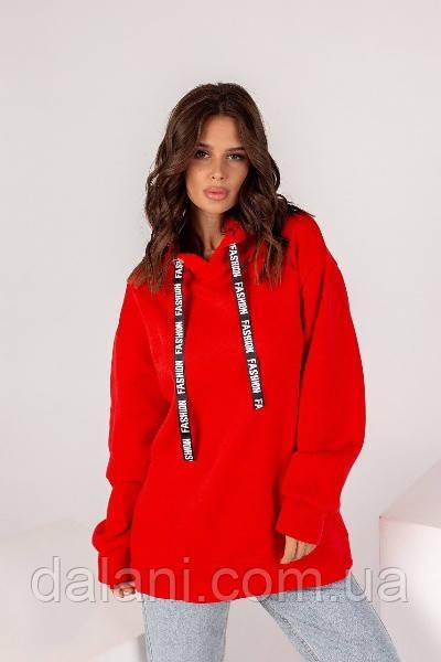 Женский красный худи с боковыми карманами