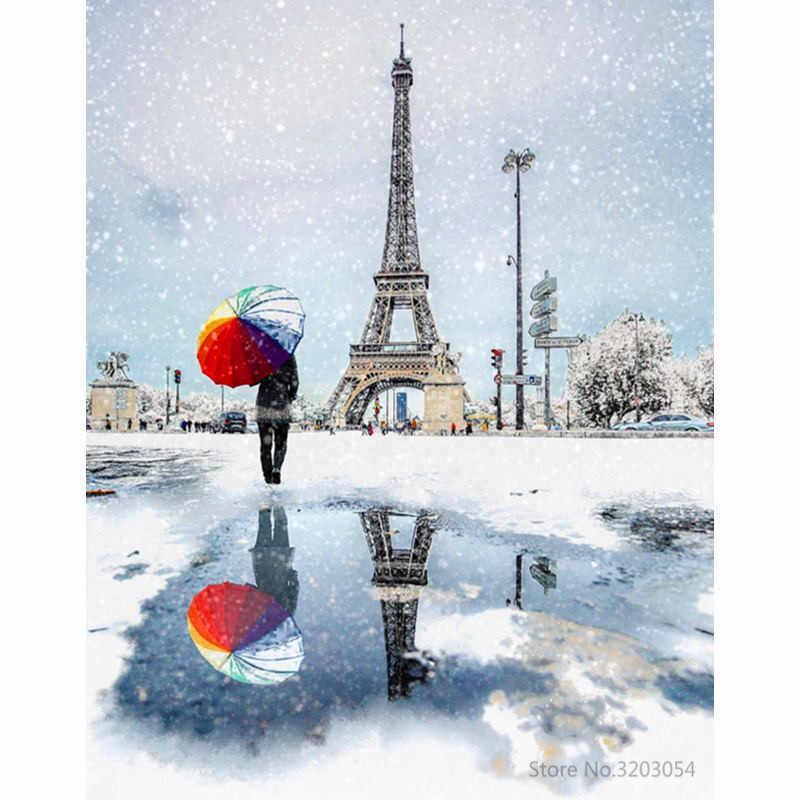 """Картина по номерам RA3513_O 40*50см """"Зимний Париж"""" OPP (холст на раме с краск.кисти)"""