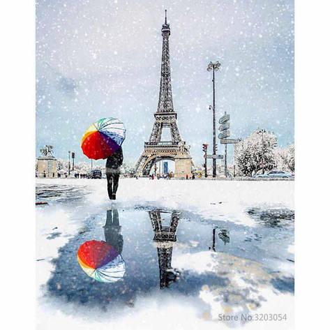 """Картина по номерам RA3513_O 40*50см """"Зимний Париж"""" OPP (холст на раме с краск.кисти), фото 2"""