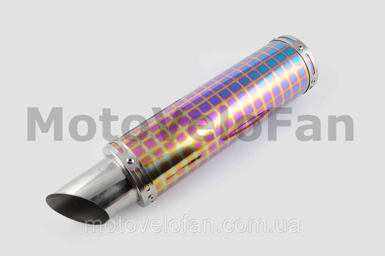Глушитель (тюнинг)   340*100mm, креп. Ø78mm   (нержавейка, квадраты, без креплений, mod:41)