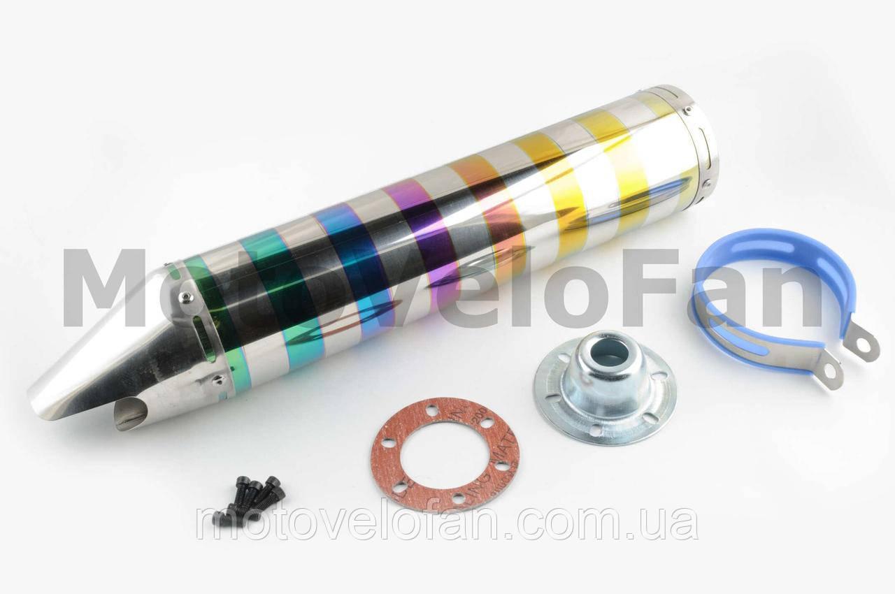 Глушитель (тюнинг)   420*100mm, креп. Ø78mm   (нержавейка, зебра, цветной, прямоток, mod:6)