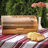Деревянная хлебница с полупрозрачной откидной крышкой