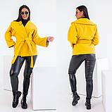Женское короткое пальто с поясом кашемир нейлон размер: 42-44,44-46,48-50,52-54,56-58, фото 3