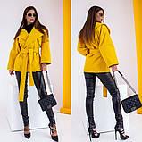 Женское короткое пальто с поясом кашемир нейлон размер: 42-44,44-46,48-50,52-54,56-58, фото 2