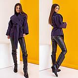 Женское короткое пальто с поясом кашемир нейлон размер: 42-44,44-46,48-50,52-54,56-58, фото 4