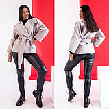 Женское короткое пальто с поясом кашемир нейлон размер: 42-44,44-46,48-50,52-54,56-58, фото 6