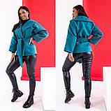 Женское короткое пальто с поясом кашемир нейлон размер: 42-44,44-46,48-50,52-54,56-58, фото 7