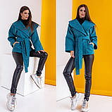 Женское короткое пальто с поясом кашемир нейлон размер: 42-44,44-46,48-50,52-54,56-58, фото 8