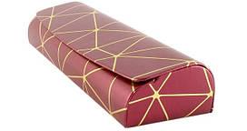 Футляр на магните, из пресс кожи с рисунком, бордовый (155х50х27)