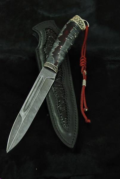 """Нож ручной работы """"Окопник"""" 160х30х4мм с ручкой из гибрид"""