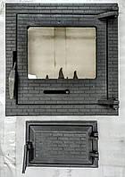 Двері камінна, набір, комплект дверей, зі склом 400х400, для каміна, печі, барбекю.
