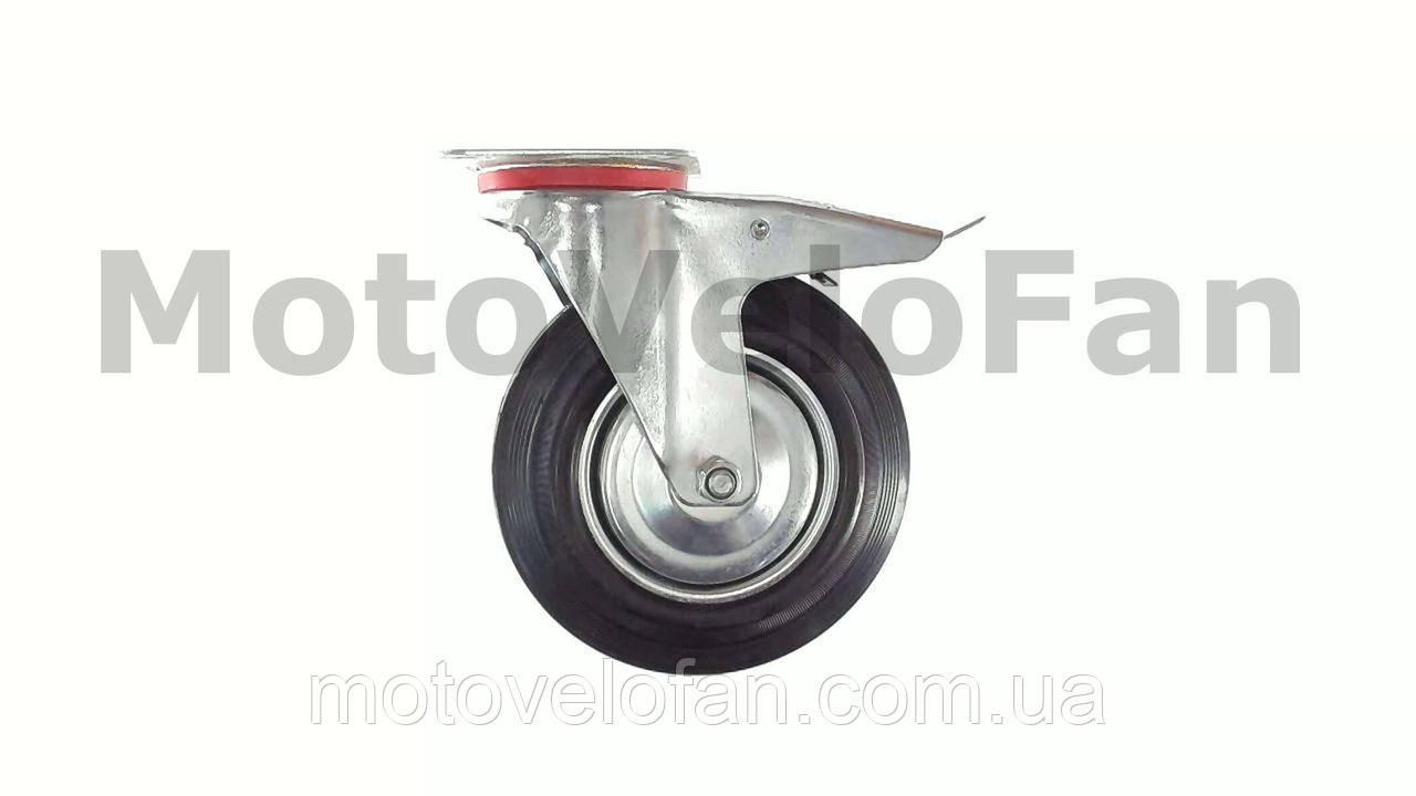 Колесо для тачек и платформ (литая резина) (в сборе с креплением и тормозами)   (200/50-100mm)   MRHD