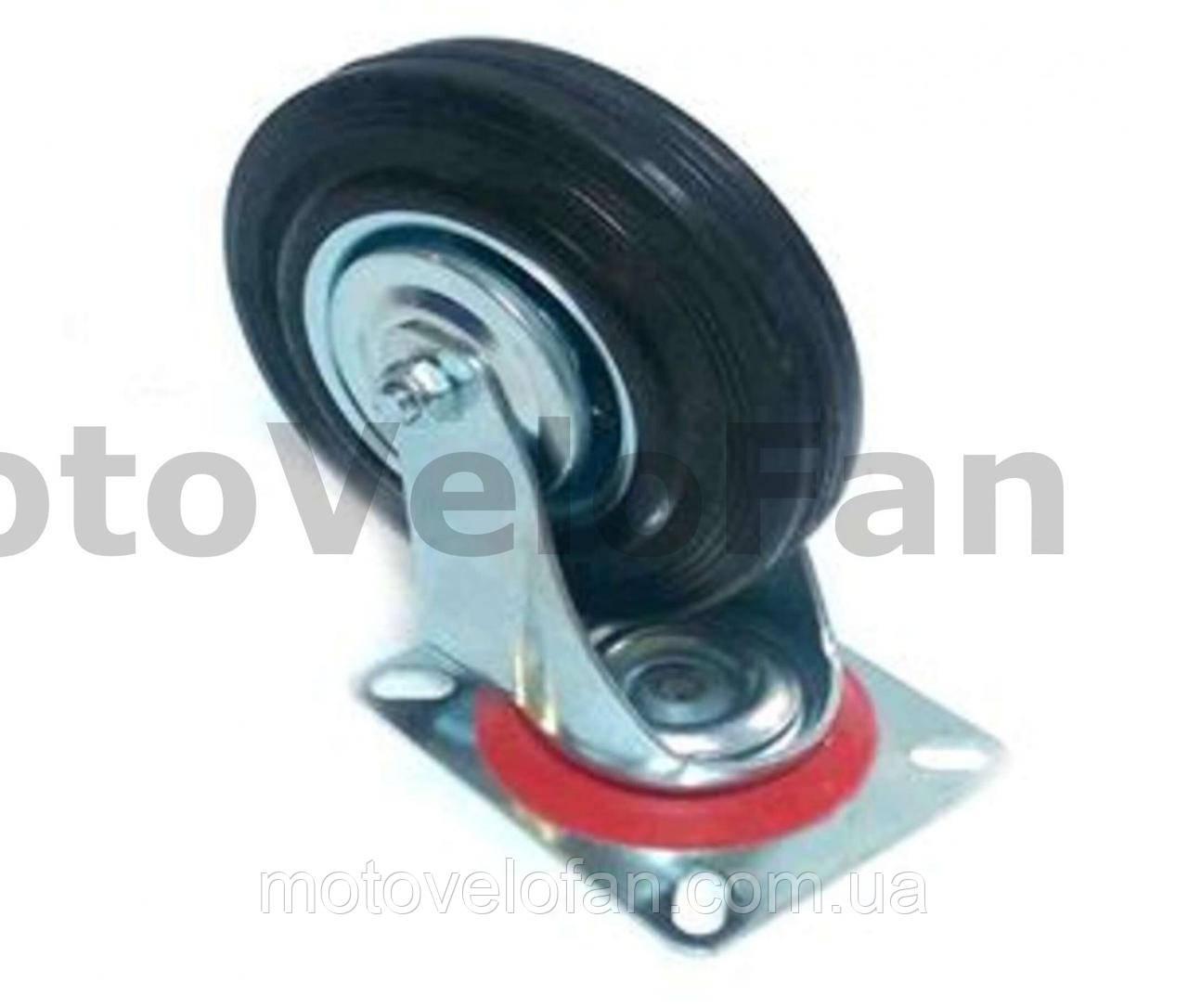 Колесо для тачек и платформ (литая резина) (в сборе с креплением, поворотное)   (125/37,5-50mm)   ELIT