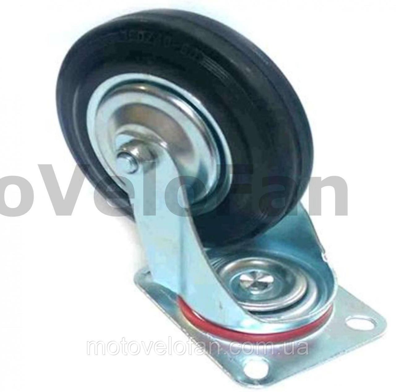 Колесо для тачек и платформ (литая резина) (в сборе с креплением, поворотное)   (160/40-80mm)   ELIT