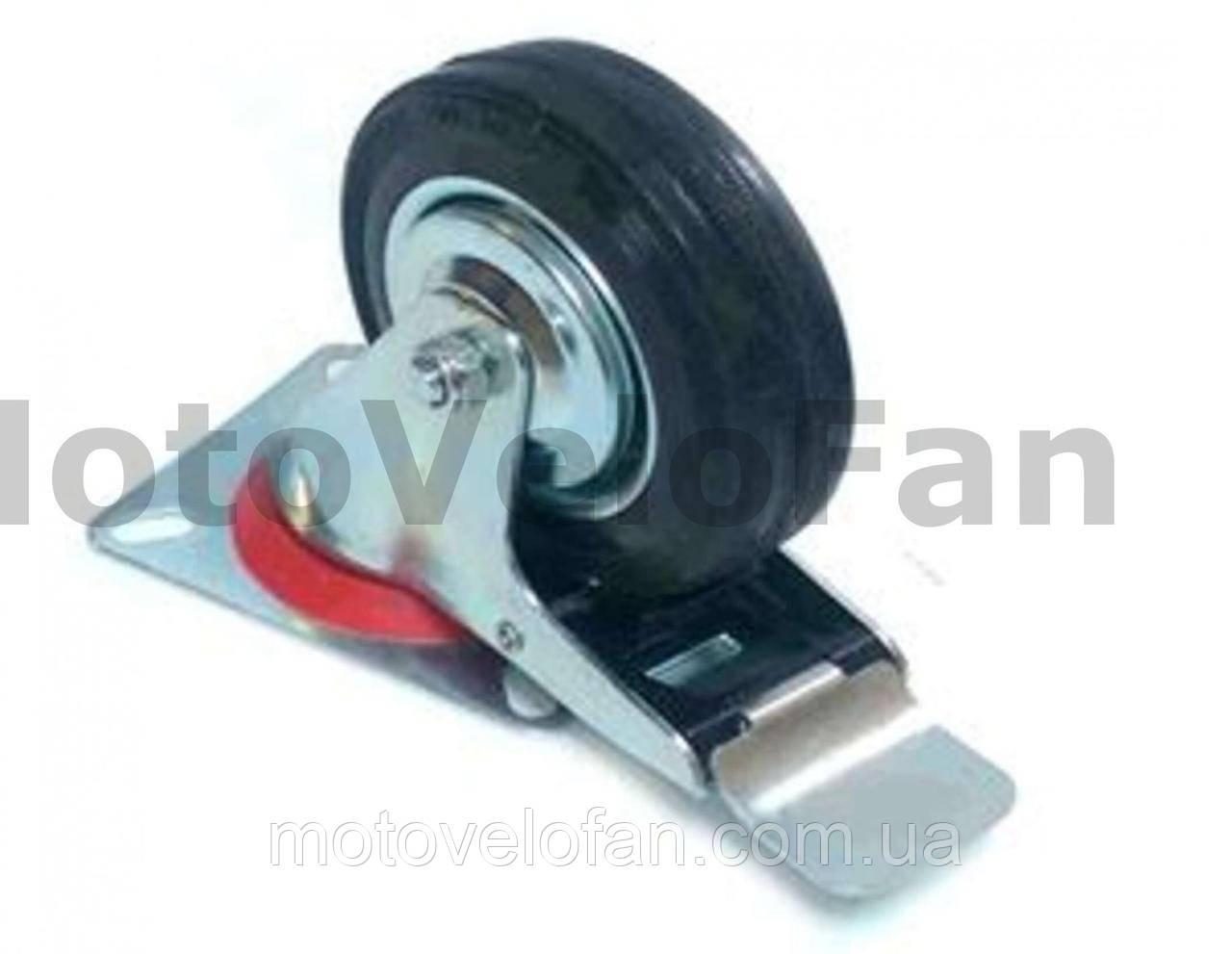 Колесо для тачек и платформ (литая резина) (в сборе с креплением и тормозами)   (100mm)   ELIT