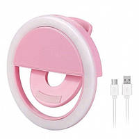Вспышка-подсветка для телефона селфи-кольцо Selfie Ring Ligh Розовый, фото 1