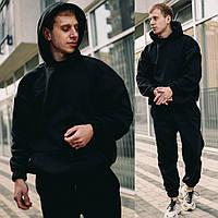 Мужской зимний спортивный костюм Оверсайз с капюшоном, теплый на манжетах, Черный
