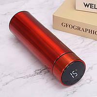 Бутылка термос с индикацией температуры для воды напитков стальной 500 мл Smart CUP Красный