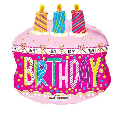 """К 20"""" B'day Cake & Candles. Шар фольгированный фигура торта со свечами С Днем рождения"""