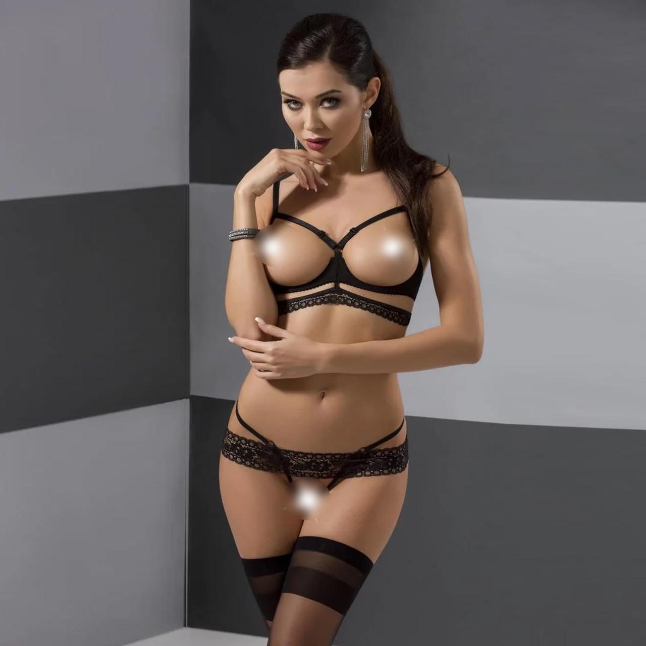 Комплект белья SARIA SET OpenBra black XXL/XXXL - Passion Exclusive: стрэпы: откртый лиф, стринги