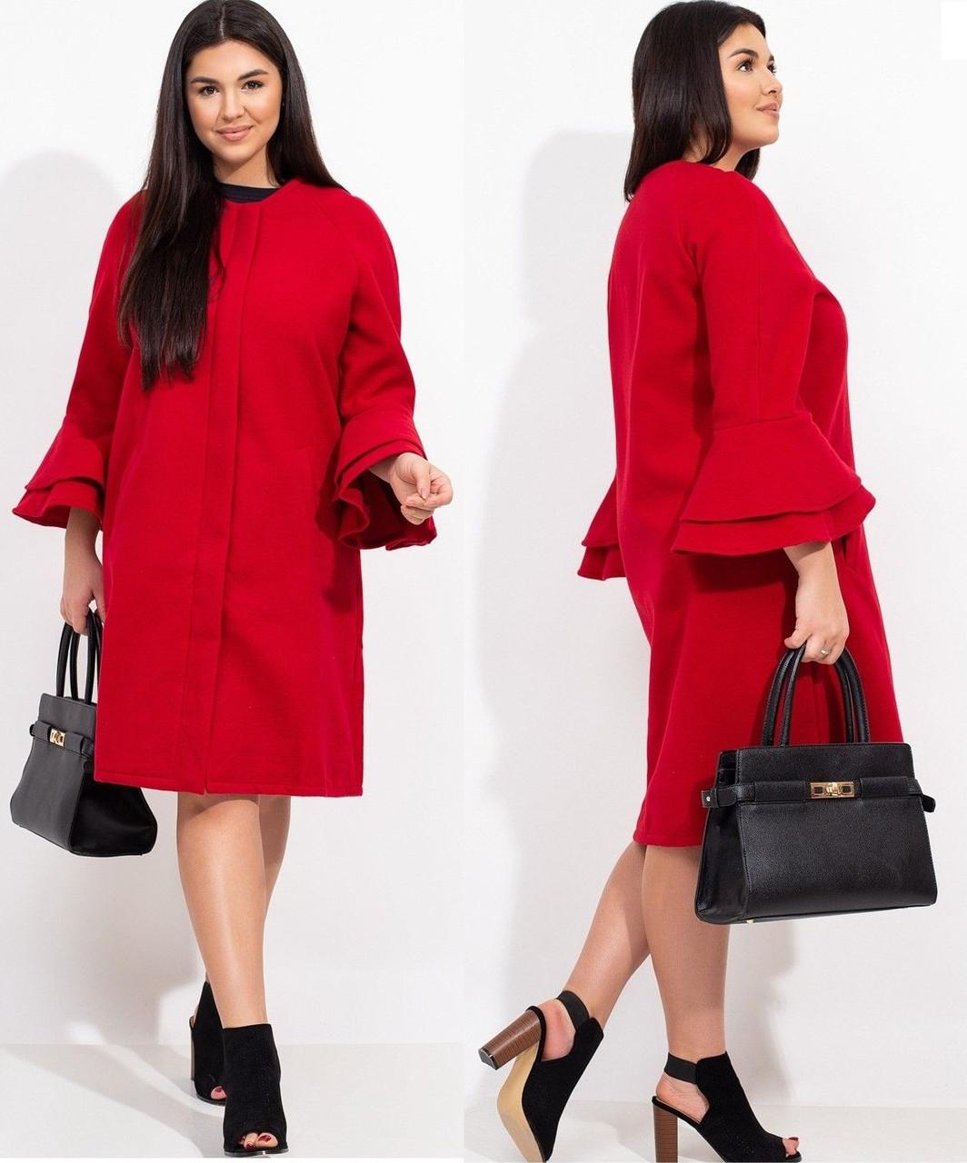 Кашемірове пальто жіноче прямого крою 46-48 50-52,54-56,58-60