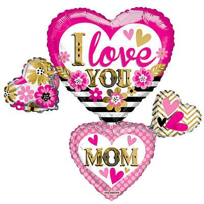 """К 36"""" Love You Mom Cluster. Шар фольгированный фигуры сердец Я люблю тебя, мама"""