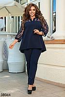 Очаровательный брючный костюм с  блузой свободного кроя  со вставками из сетки с флоком с 50 по 64 размер, фото 3