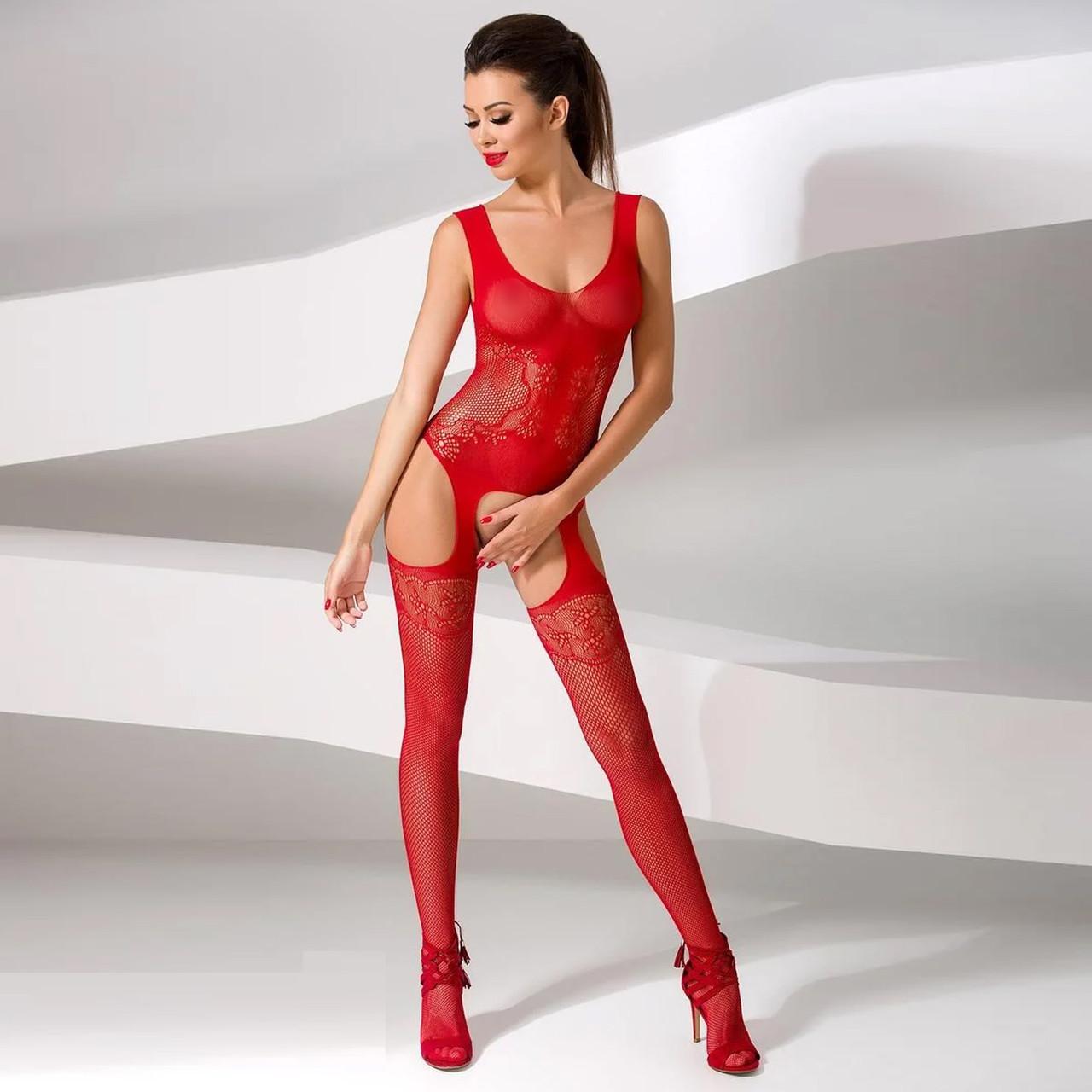 Бодистокинг Passion BS046 red, комбинезон с имитацией чулок