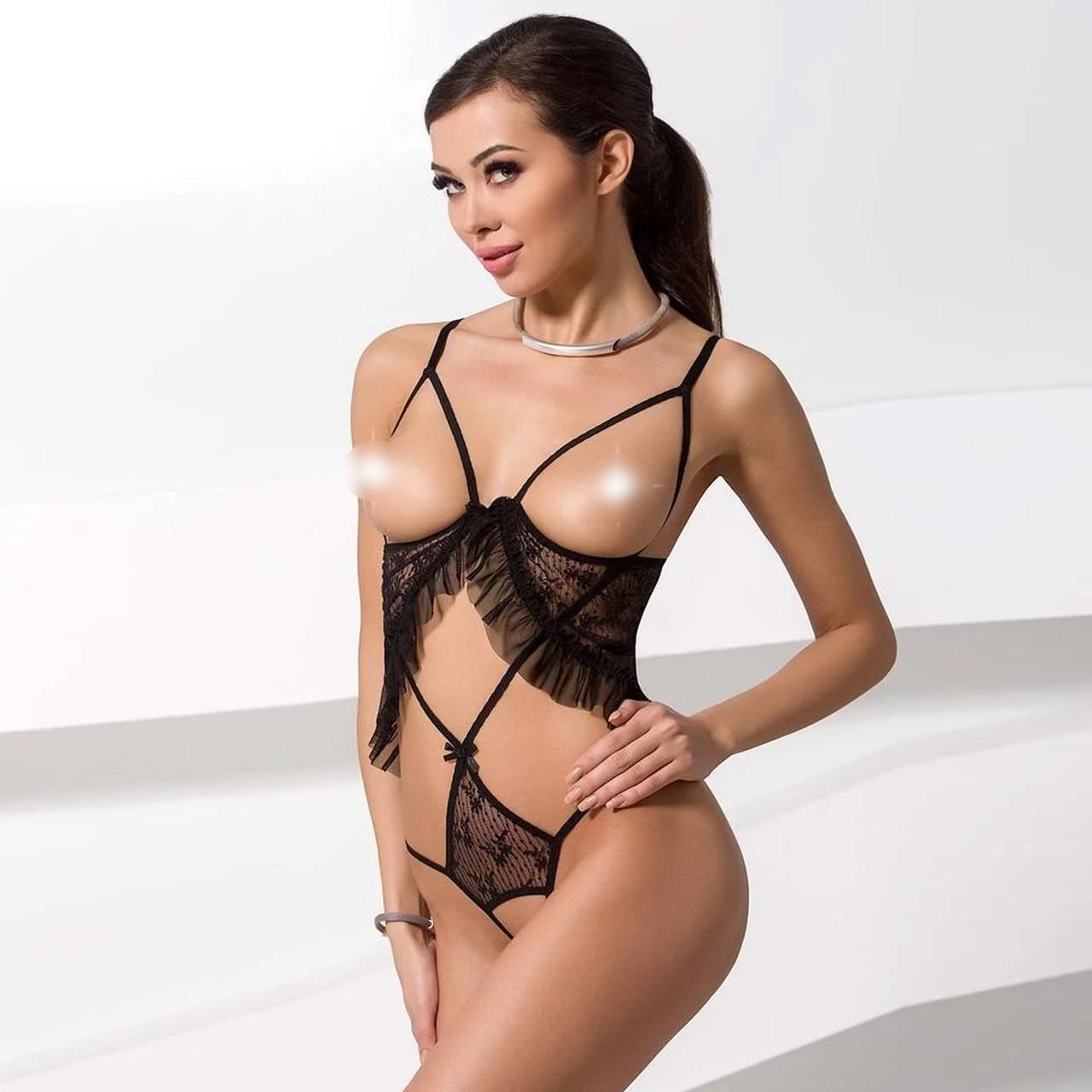 Боди монокини с открытой грудью JUSTINA BODY black S/M - Passion