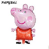 Надувной фольгированный фигурный шар Свинка Пеппа в красном 81 см.