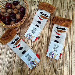 """Детские махровые носки V&T socks/Хмельницкий с рисунком """"Снеговичек"""""""
