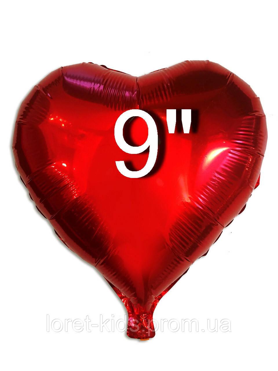 Шар фольгированный сердце красный, 22 см (Китай )