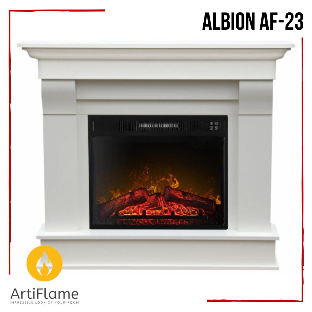 Электрокамин с порталом ALBION AF-23ArtiFlame белый, каминокомплект с обогревом, камин с диагональю59 см