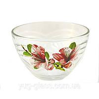 """Салатник стеклянный 19 см """"Сидней"""" цветы в ассортименте., фото 1"""