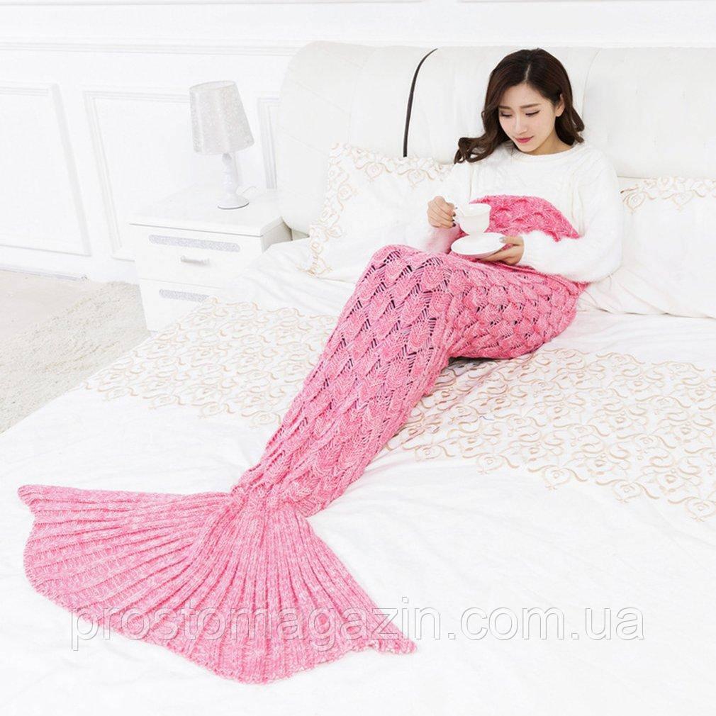 Вязаный плед хвост русалки розовый 185 см
