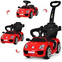 Детский электромобиль машинка-толокар с родительской ручкой 2в1 Bambi «Porshe», Красный