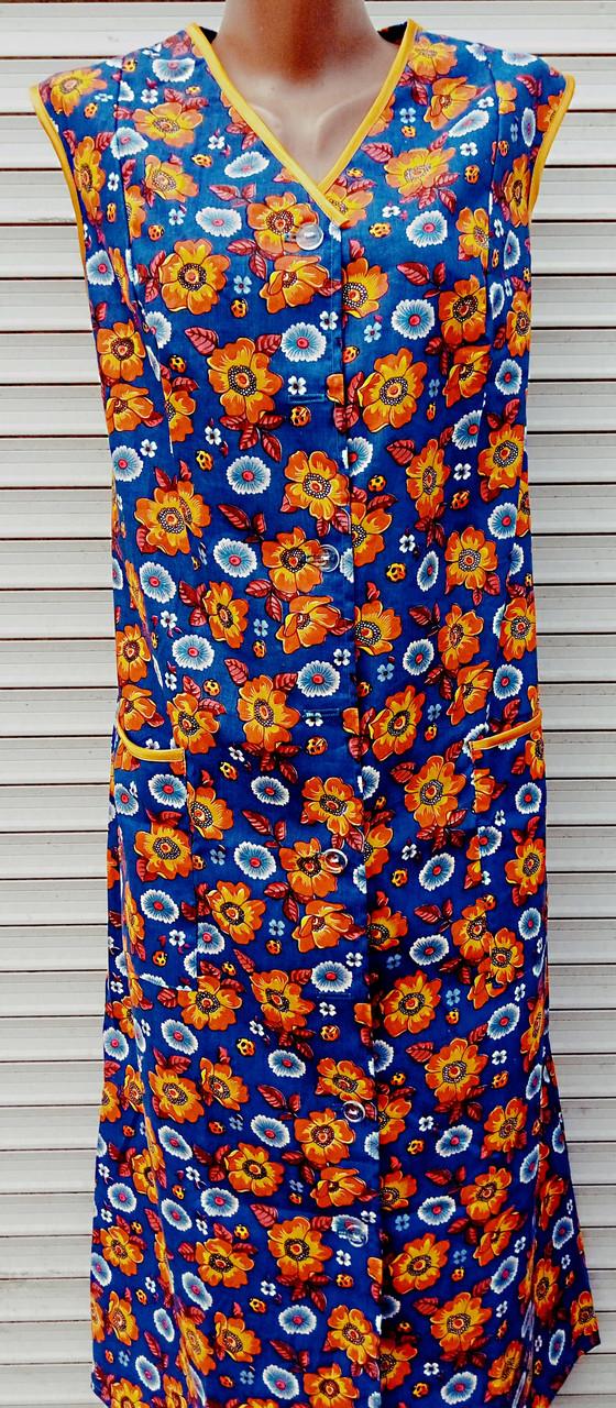 Летний халат без рукава 48 размер Оранжевые цветы