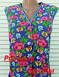 Летний халат без рукава 50 размер Розовые цветы, фото 5