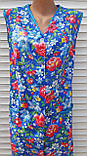 Летний халат без рукава 50 размер Анютки на синем, фото 5