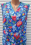 Летний халат без рукава 50 размер Анютки на синем, фото 7