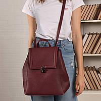 Сумка-рюкзак женский из искусственной кожи бордового цвета