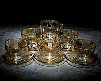 """Сервіз чайний """"Янтар""""(6чаш.200мл+6бл) 12 предметний."""