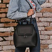 Сумка-рюкзак женский из искусственной кожи черного цвета