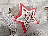 """Украшение на елку """"Звезда со снеговичком"""", дерево, 9 см, 35 грн, фото 2"""