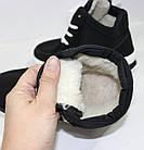 Кроссовки женские зимние черного цвета на меху в стиле Найк, фото 8