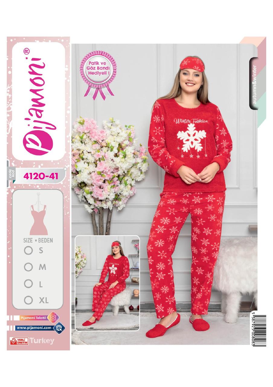Женская  теплая пижама с повязкой Snowflake