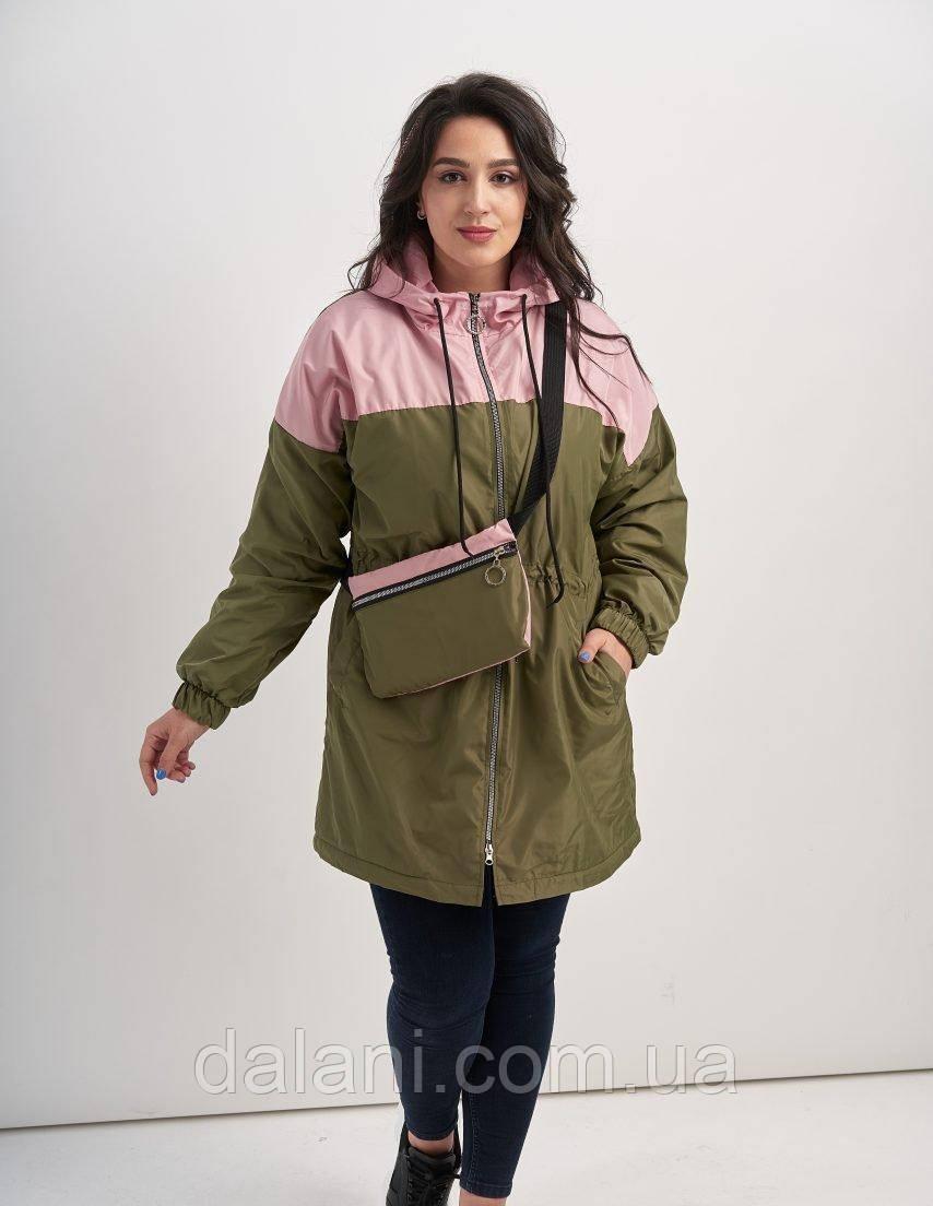 Женская куртка хаки с клатчем батал